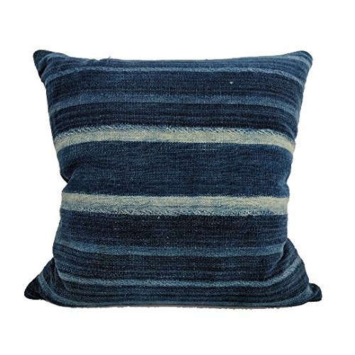 African Indigo Farmhouse Stripe Pillow | DUBYA 18x18