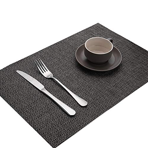 (SMILINGGIRL Place Mats, Simple Weaving Table Place Mats And Coasters Sets of 4 - Premium Heat Resistant Non-Slip Anti-Scalding Insulation Placemat Washable Tableware Square Dining Table Mats,Brown)