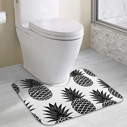 Beauregar Retro Pineapple Seamless Contour Bath Rugs,U-Shaped Bath Mats,Soft Polyester Bathroom Carpet,Nonslip Toilet Floor Mat 19.2″x15.7″