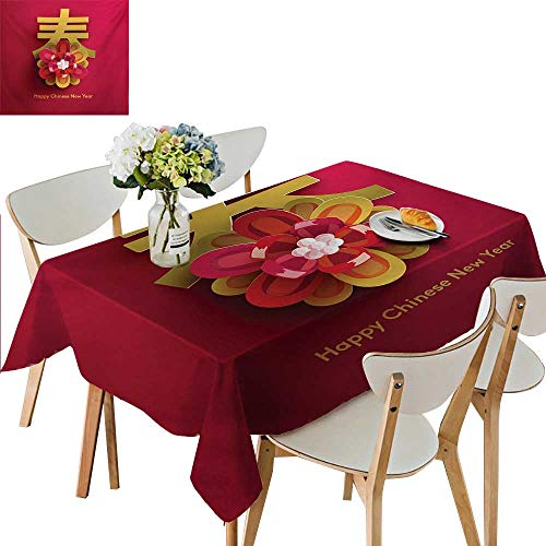 Polyester Tablecloth,Lunar Festival Theme with a Flower Motif and Chinese Letter on Pink Waterproof Spillproof Tablecloth for Dining Room,69W x 108L Inches Pale Blue Tan and White]()