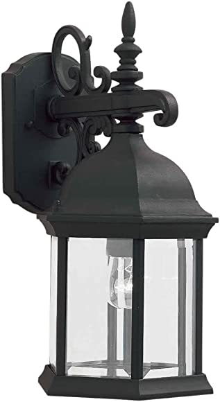 Forte Lighting 1708-01-04 Traditional 1 Light Exterior Wall Lantern, Black Finish with Clear Beveled Glass