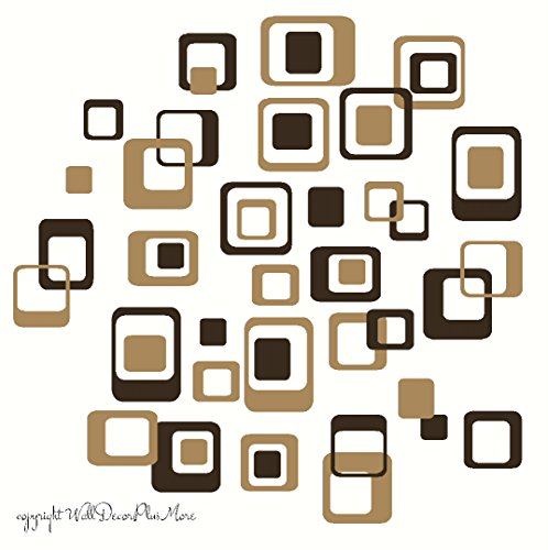 Square Wall Decals (Wall Decor Plus More WDPM1044 Funky R/ Squares Wall Sticker Vinyl Decal 40-Piece 2 color Retro Mod Shapes Fun Easy Peel-N-Stick Application, Tan and Chocolate Brown)