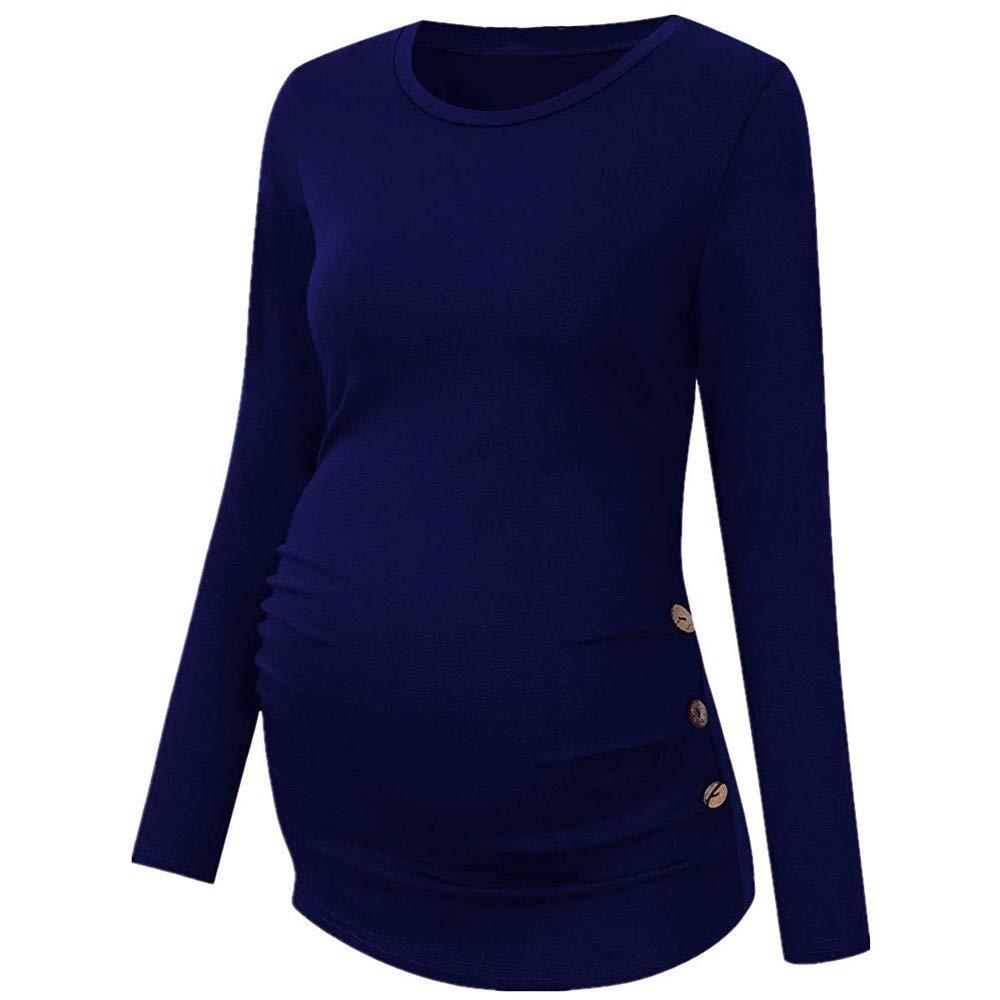 Solike Damen Langarm Umstandsshirt Mutterschaft Umstandsmode Rundhals T-Shirt Mama Schwangerschaft Kleidung Tops Plus Grö ß e Stillshirt Stilltop