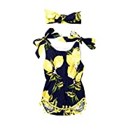 Baby Girls Fruit Lemon Pear Floral Bowknot Strap Sleeveless Dress With Headband (12-18M(Tag90), Black)