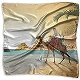 Womens Girl's Egypt Desert Camels Coast Ships Sailing Cairo Print Square Kerchief Scarf Head Wrap Neck Satin Shawl