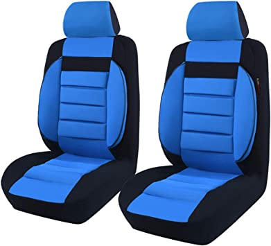 Beige CAR-GRAND Universal Sporty Leather with Mesh Car Seat Covers Seat Protector Airbag Compatible