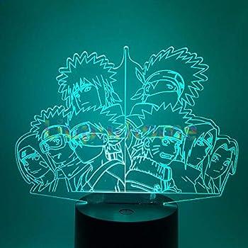 QIANDONG1 Naruto Team Night Light 7 Color Chaning Home Decor Naruto Team Kakashi Minato Sasuke Obito Table Lamp 3D Visual Night Light