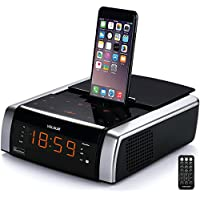 VELOUR iphone Lightning Docking Station with Speaker Clock Dual Alarm Radio Bluetooth USB AUX-in Remote for iPhone X/ 8/8plus 7/7plus/ 6/6s/6splus 5/5s[Apple MFi Certified]