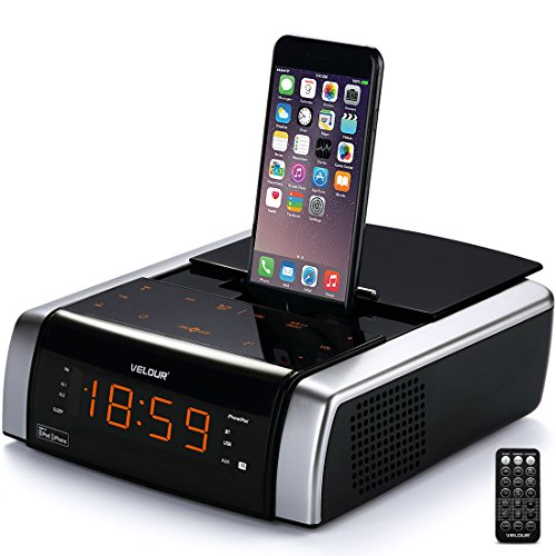 VELOUR iphone Lightning Docking Station with Speaker Clock Dual Alarm Radio Bluetooth USB AUX-in Remote for iPhone X/ 8/8plus 7/7plus/ 6/6s/6splus 5/5s[Apple MFi Certified]