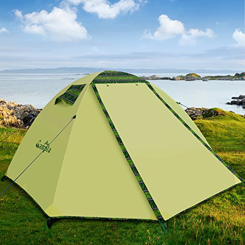 Campla Tent Camping Outdoors,Backpacking Tents LED Fit 2 3 Person 3 Season Lightweight Waterproof Tent Family Mountaineering Hiking Traveling Easy Set-Up Carrying Bag Green