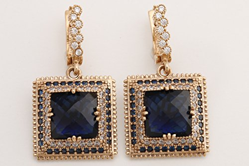 Turkish Handmade Jewelry Square Shape Sapphire and Round Cut Topaz 925 Sterling Silver Dangle/Drop Earrings