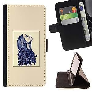 Momo Phone Case / Flip Funda de Cuero Case Cover - Beige Azul Tinta pelo profundo Mujer - Motorola Moto E ( 2nd Generation )