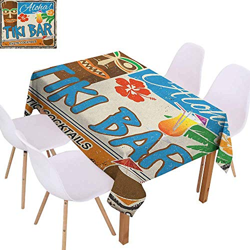 Marilec Stain-Resistant Tablecloth Tiki Bar Rusty Vintage Sign Aloha Exotic Cocktails and Coconut Drink Antique Nostalgic Soft and Smooth Surface W54 xL84 Multicolor -