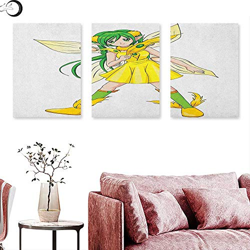 J Chief Sky Anime Wall hangings Fantasy Illustration of a Fairy Girl in a Yellow Dress Japanese Manga Triptych Wall Art Yellow Lime Green Ivory W 24
