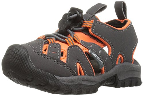 (Northside Boys' Burke II Sandal, Gray/Orange, 12 M US Toddler)