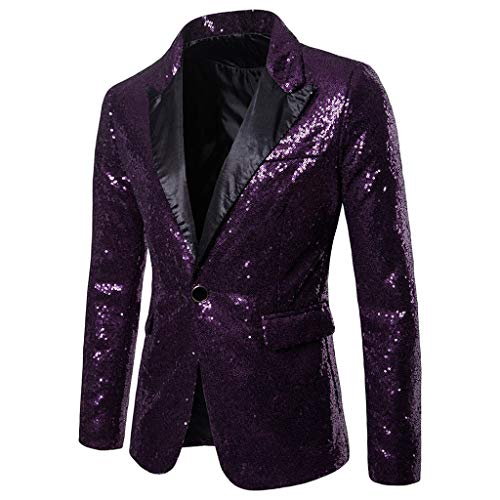 Toimothcn Charm Men's Sequin Casual One Button Fit Suit Blazer Coat Jacket Party(Purple,S)