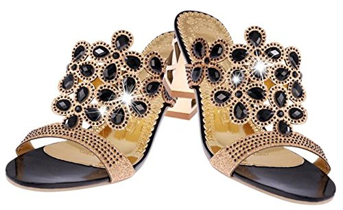 Rhinestone Slide Sandals Black DADAWEN Chunky Evening Wedding Dress Women's Heels Uvpwq5H