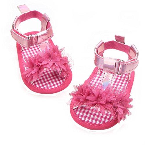 Hunpta Neugeborenes Baby Mädchen Blume Sandalen Krippe Anti Slip weiche Sohle Schuhe Hot Pink