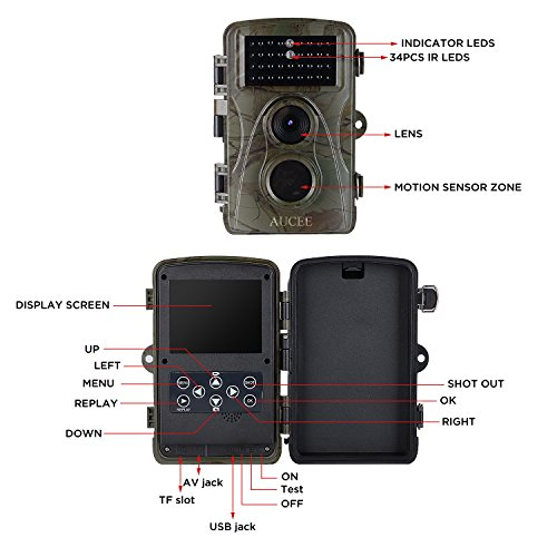 AUCEE Hunting Camera 12MP 1080P Full HD Trail Camera Infrared Wildlife Camera with Night Vision up to 65FT 24 inch LCD Screen and IP56 Waterproof Game Cam for Wildlife Monitoring Game Trail Cameras