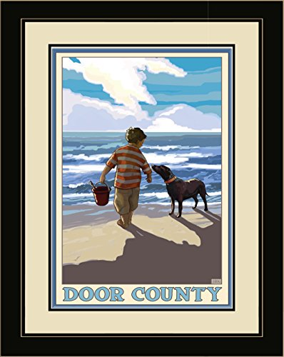 Northwest Art Mall JK-3931 LFGDM BDE Door County Boy Dog East Framed Wall Art by Artist Joanne Kollman, 20 x - Mall County North