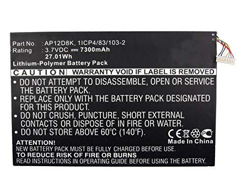 Synergy Digital Battery Compatible with Acer Iconia W510-1654 Tablet Battery (Li-Pol, 3.7V, 7300 mAh) - Repl. Acer 1ICP4/83/103-2 Battery
