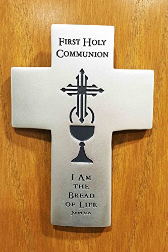 Crucifix Life (First Communion I Am The Bread Of Life Cross Crucifix Catholic Wall Plaque Decor)