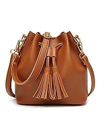 ShiningLove Luxury Women PU Leather Shoulder Bag Elegant Bucket Bags Fashion Girls Tassel Crossbody Handbag