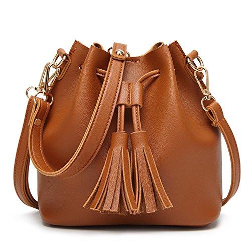 Yiwa Bolso de hombro de la secuencia de cuero de la PU de las mujeres Bolso de lujo de la bolsa de la borla de la borla de las muchachas de la manera Marron