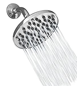 """Premium 6"""" High Pressure 57-Jet Powerful Rainfall Showerhead – Installs in Minutes - No Tools Required - Plumber's Thread Seal Tape & Removable Water Restrictor Bonus"""
