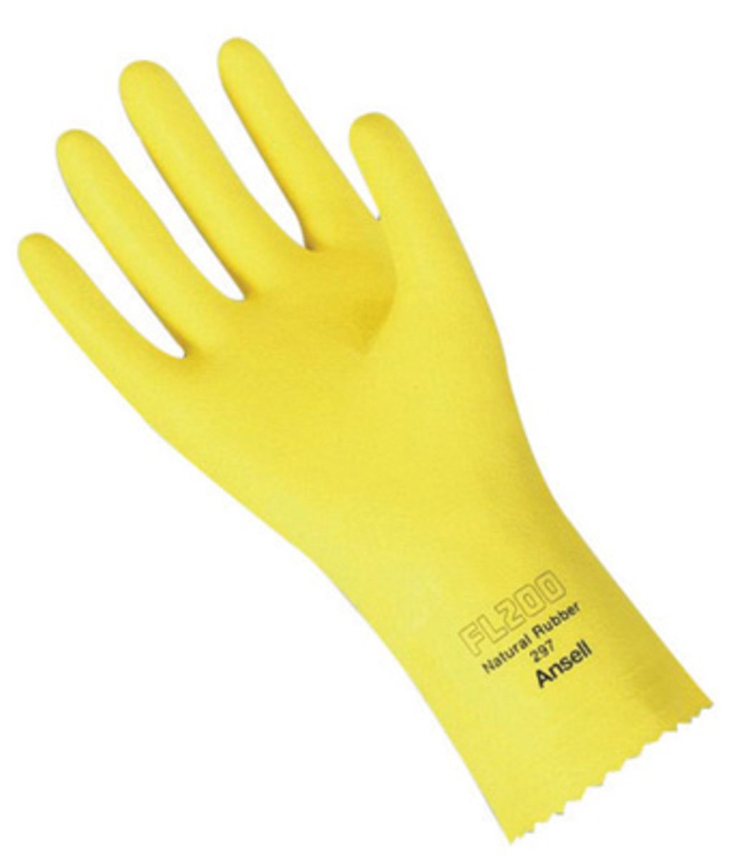 Ansell Size 7 Yellow FL200 Flock Lined 20 mil Latex And Rubber - Pack of 144