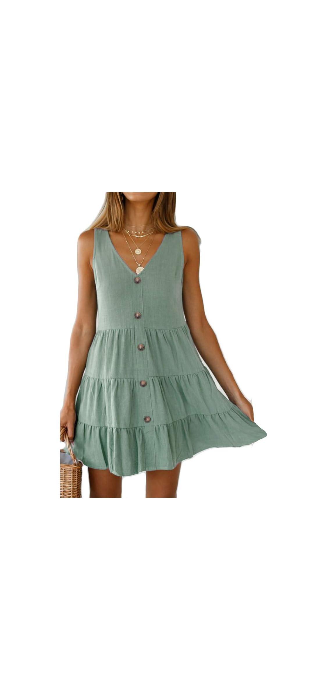 Women's Button Front Dress Summer Sleeveless V-neck Swing