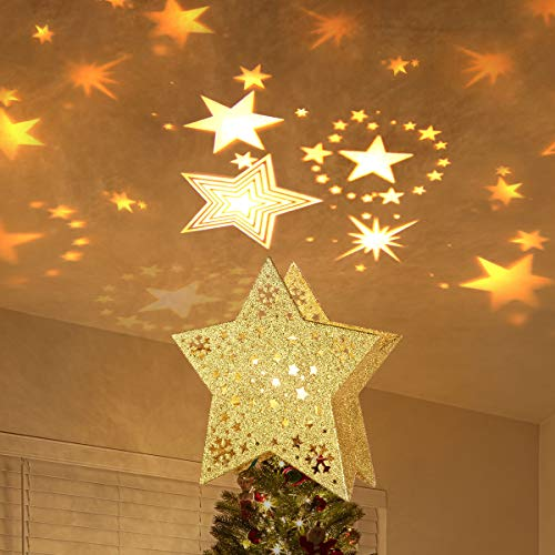 MAOYUE Christmas Tree Topper Lighted with LED Star Projector Lights, Lighted Star Tree Topper for Christmas Tree Decorations, Golden (Star For Christmas Tree)