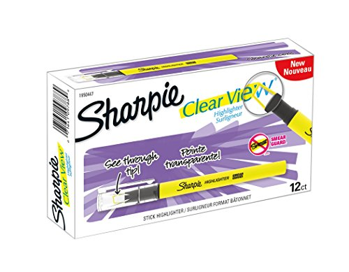 Sharpie Clear View Highlighter Stick, Yellow, Box of 12 (1950447)