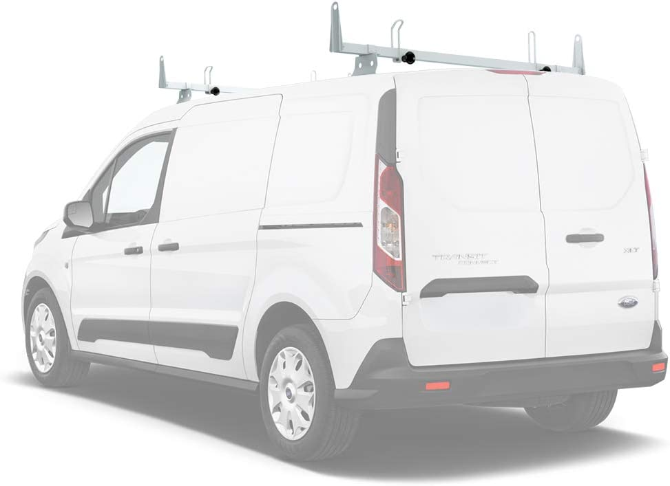 Van Roof Rack System w//Ladder Stopper White 50 AA-Racks Model X202-TR Transit Connect 2014-Newer Heavy Guage Steel 3 Bar