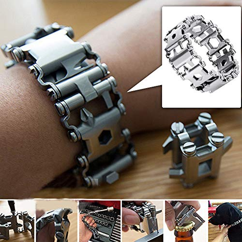 - Glumes 29 IN 1 Muti-tools Survival Bracelet, Stainless Survival Bracelet, Potable Pocket Tool Compass for Camping, Climbing, Cycling, Hiking Gift for Boys Men BF Sales (Black)