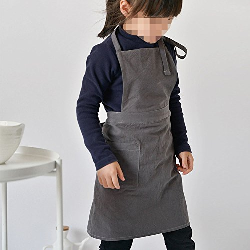 Hersent Children's Apron Painting Aprons with Pockets for Kids Painting Pottery and Baking Children's Cotton Linen Tool Apron Best for Kitchen Art Classroom Community DIY Event (HSW-114) (M)