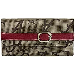 Alabama Crimson Tide Leather and Jacquard Fabric Ladies Wallet with Buckle Strap