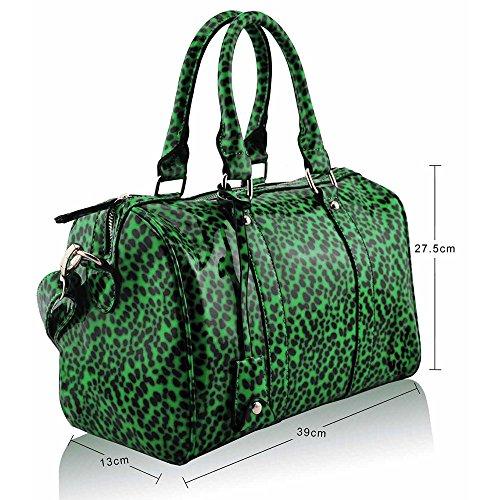 Asa De hombro Trendstar En La parte superior De La moda De las mujeres bolsos De mano, piel sintética, ORT.K7051-Petate Célébrité Style A H - Green