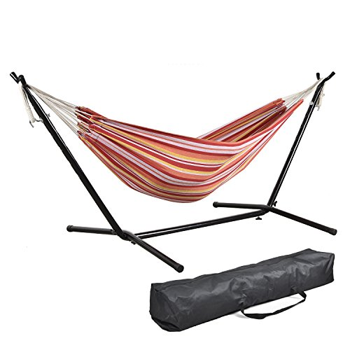 CHARAVECTOR 9 ft Portable Double Hammock Bed With Adjustable Stand Carrying Case Easy Assemble Space Saving Steel Stand Accommodates Two Adults by CHARAVECTOR