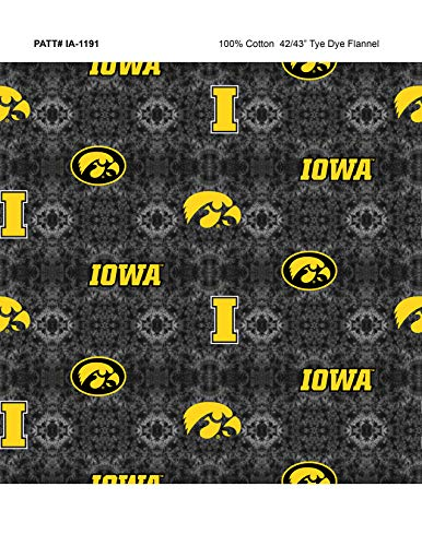 University of Iowa TIE DIE Flannel Fabric-Sold by The Yard-College Flannel Fabric