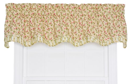 - Ellis Curtain Marcia Floral Vine Print Bradford Window Treatment Valance, 70 by 16-Inch, Green