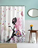 izielad Pink Butterfly Girl with Floral Dress Flower Design Fairy Angel Wings Home Soft Modern Design Feminine Decor Dreamy Folklore Shower Curtain 180x200cm 72' wide x78 long