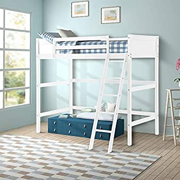 Harper&Bright Designs Panel Style Solid Wood Loft Bed,Side Angled Ladder (White)
