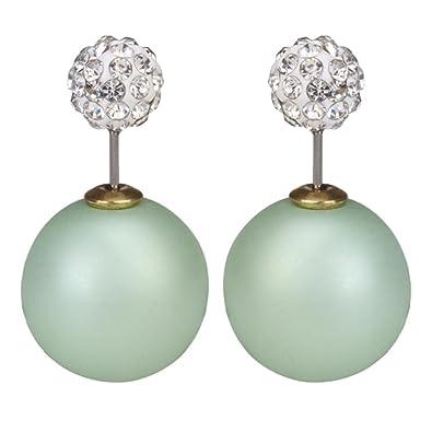 dbb9c863ca504 LackingOne Vintage Classic Button Pearl Studs Earrings Ball Earrings Color  Matte Light Green