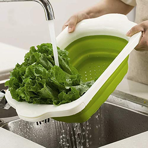 Collapsible Over Sink - WELLAND Colander Collapsible/Over The Sink Colander/Silicone Colander (Green&White)