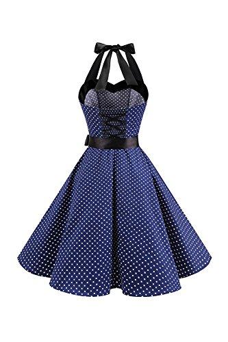 Mujeres Vintage De Azul Swing Vestido Oscuro Cocktail Vestidos Dot Polka Cabestro 1950 rHxqTBwrn7