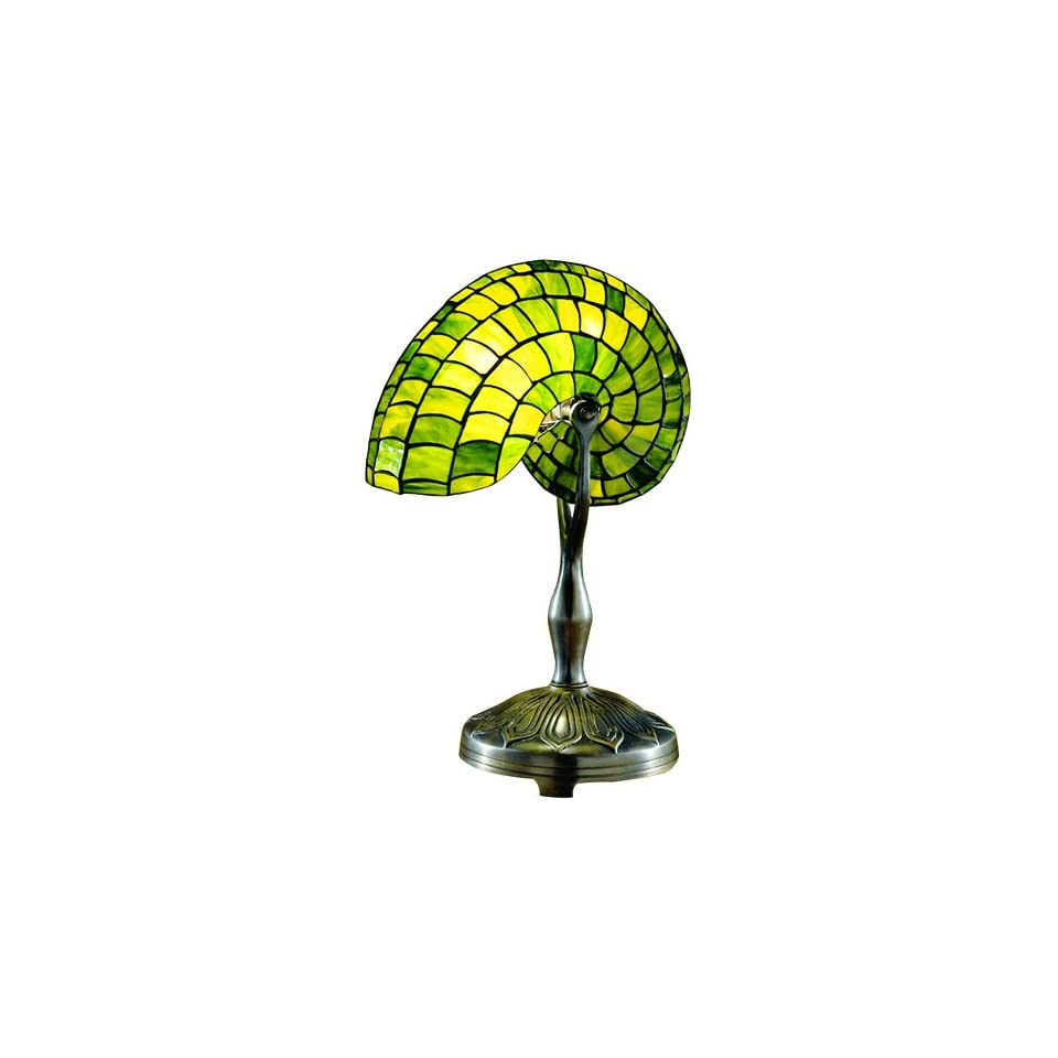 Dale Tiffany 2115/177 Green Nautilus Table Lamp, Antique Bronze and Art Glass Shade