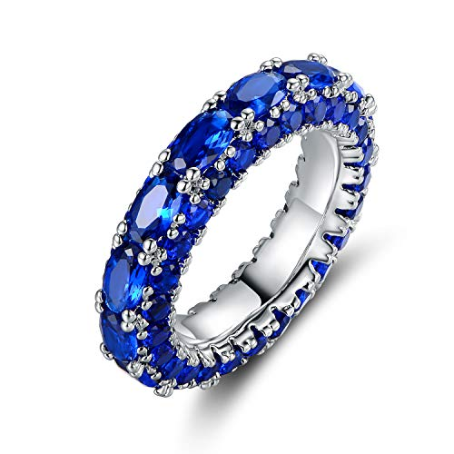 Barzel Rhodium Plated Created Emerald & Created Sapphire Three Row Ring (Sapphire, ()