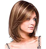 Shoulder Length Bob Costume Wigs for Black Women Mixed Color Natural Straight Straight Sexy Synthetic Hair Wig for Woman