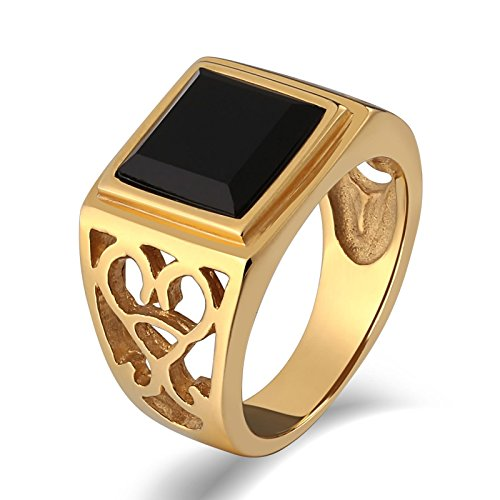 Personalized Child Prayer Card (AnaZoz Men's Ring Stainless Steel Fashion Vintage Style Gold Plated Hollow Out Black Stone Rings Size 9)